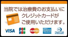 当院では治療費のお支払いにクレジットカードがご使用いただけます。